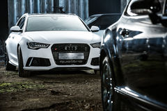 White Audi RS6 tuning Royalty Free Stock Images