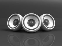 White audio system over grey Royalty Free Stock Photo