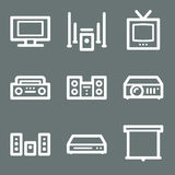 White audio video web icons Royalty Free Stock Photo