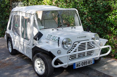 White austin mini moke parked editorial Royalty Free Stock Images