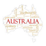 White Australia Word Cloud Map Royalty Free Stock Photos