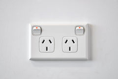 A white Australian wall power outlet. A common white Australian wall power outlet Royalty Free Stock Photos