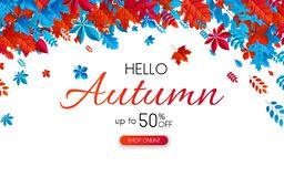 White autumn 50% off sale. Promotion poster with color leaves. White autumn 50 off sale. Promotion poster with red and blue leaves. Online shop. Vector vector illustration