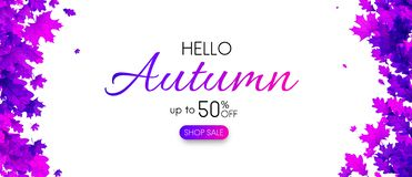 White autumn 50% sale. Promo banner with purple leaves. White autumn promo banner with purple leaves. Shop 50 sale. Vector background. r Stock Illustration