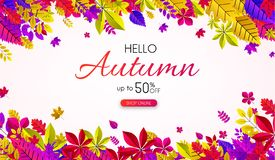 White autumn 50% sale. Promo poster with colorful leaves. White autumn 50 sale. Promo poster with colorful leaves. Online shop. Vector background Vector Illustration
