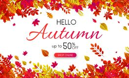 White autumn 50% sale. Promo poster with golden leaves. White autumn 50 sale. Promo poster with golden leaves. Online shop. Vector background Stock Illustration
