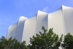White awning. Over bright sunny blue sky Royalty Free Stock Photo