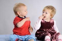 White babies eat Royalty Free Stock Photo