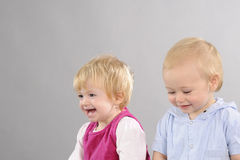 White babies smiling Stock Images
