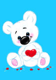 White baby bear valentine card Stock Image