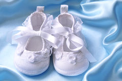 White baby booties Royalty Free Stock Photo