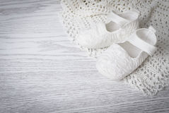 White baby boots Royalty Free Stock Images
