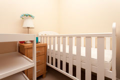 Baby Cot Bed. Empty White Baby Cot Bed Stock Photos
