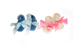 White Baby girl and blue baby boy socks Royalty Free Stock Photo