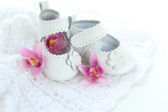 White baby girl shoes Royalty Free Stock Image