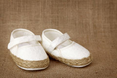 White baby shoes Royalty Free Stock Photos