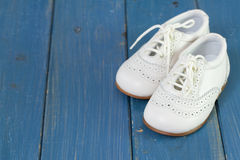 White baby shoes Royalty Free Stock Images