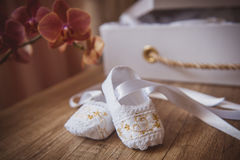White baby shoes Royalty Free Stock Photography