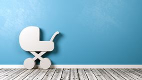 Baby Stroller Symbol in the Room. White Baby Stroller Symbol Shape on Wooden Floor Against Blue Wall with Copy Space 3D Illustration Stock Photo