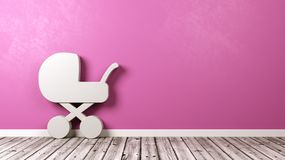 Baby Stroller Symbol in the Room. White Baby Stroller Symbol Shape on Wooden Floor Against Pink Wall with Copy Space 3D Illustration Royalty Free Stock Photo
