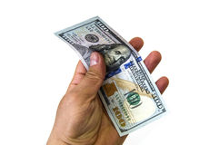 $ 100 on the white back ground and wallet pictures,. Hand holding $ 100, hand holding dollar Stock Photography