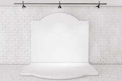 White Backdrop Stage in Room with Brick Wall Royalty Free Stock Photography