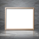 White backdrop with wooden frame in a room Royalty Free Stock Photography