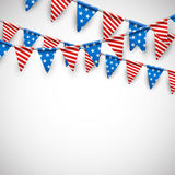 White background with American flags. White Independence Day background with American flags. Vector illustration Stock Photo