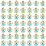 White background with angels in blue dresses.  vector illustration