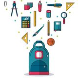 White background with backpack in closeup and colorful smaller icons of elements of school. Vector illustration Stock Photos