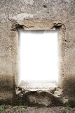 Old castle window. White background behind old castle window Stock Photo