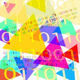White background with binary code and geometric shapes of different colors. White background with binary code and geometric shapes of different colors for text stock illustration