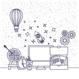 White background with blue silhouette of computer clock space rocket hot air balloon target documents coffee cup pinions. Vector illustration Stock Images