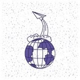 White background with blue silhouette earth globe and paper plane flying. Vector illustration Royalty Free Stock Image