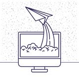 White background with blue silhouette with lcd monitor and paper plane. Vector illustration Stock Photos
