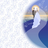 White background with bridegroom, bride, pigeons, sea, sun and sunrise. Royalty Free Stock Photo