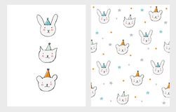 Cute Hand Drawn Little Cat, Bear and Bunny Card and Pattern. stock illustration