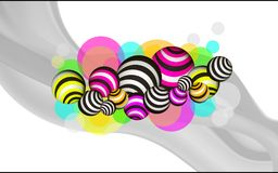 Modern background with bright balls. On a white background, bright lines, waves, balls Royalty Free Stock Photo