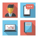 White background with business icons profiles. Vector illustration Stock Images