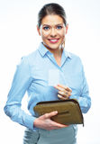 White background. Business woman with purse Stock Image