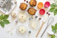 On white background cake molds, spatula, corolla, cones for cream,. Korean buttercream flowers stock photos