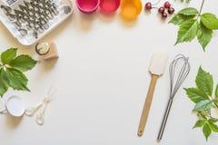 On white background cake molds, spatula, corolla, cones for cream,. Korean buttercream flowers royalty free stock photos