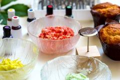 On white background cake molds, spatula, corolla, cones for cream, korean buttercream flowers stock photo
