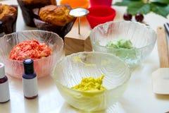 On white background cake molds, spatula, corolla, cones for cream, korean buttercream flowers stock images