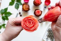 On white background cake molds, spatula, corolla, cones for cream, korean buttercream flowers.  royalty free stock photo