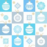 White background, Christmas decorations, snowflakes, blue, seamless pattern. Royalty Free Stock Photo