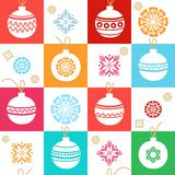 White background, Christmas decorations, snowflakes, red, blue, seamless pattern. Royalty Free Stock Photos