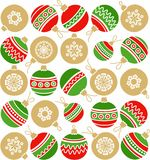 White background, Christmas toys, Golden balls, red, green, seamless. Stock Photography