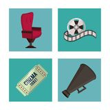 White background with cinema elements in frames as chair ticket reel and megaphone. Vector illustration Royalty Free Stock Photography