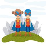 White background city landscape with superhero woman and man couple in grass. Vector illustration Stock Image